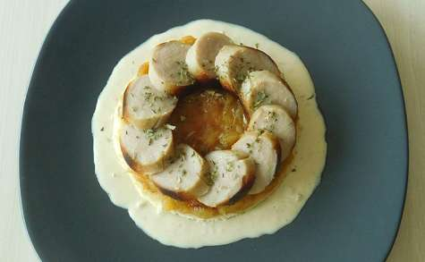 Boudin blanc / Marmelade de pommes / Sauce au cidre