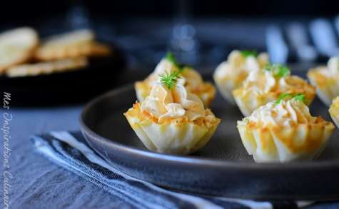 Amuse-bouches à la pâte filo et saumon