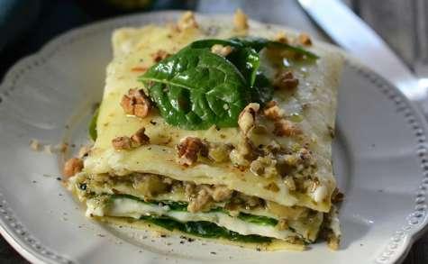 Lasagnes aux épinards à la sauce aux olives façon pesto vert