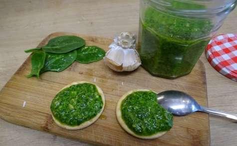 Pesto aux jeunes pousses d'épinard et mélange de graines