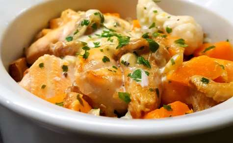 Cocotte de saumon et lotte aux girolles et patates douces