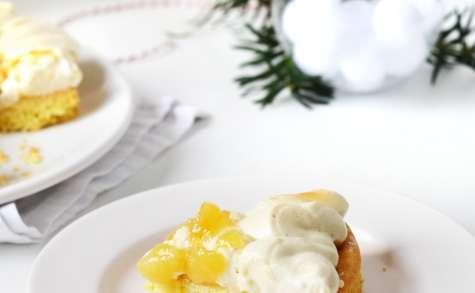 Tarte aux poires caramélisées et crème vanillée