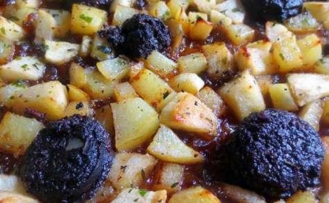 Tarte pommes de terre et boudin noir express