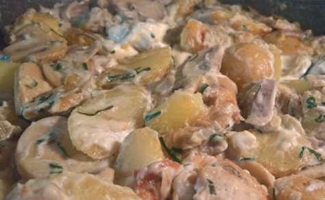 Poêlée de pomme de terre et champignon, ail et ciboulette