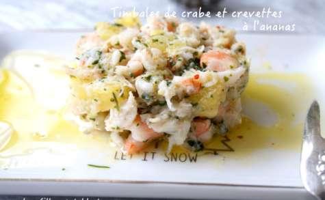 Timbales de crabe et crevettes à l'ananas et citron vert