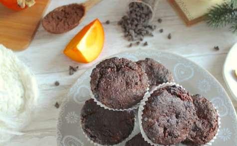 Petits cakes au chocolat, cacao et kaki