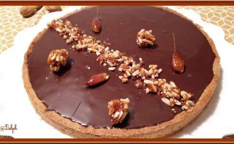 Tarte aux amandes caramélisées à la ganache au chocolat et lait d'amandes
