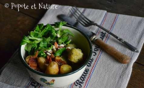 Bol gourmand aux rattes du Touquet, aux choux de Bruxelles et lard fumé
