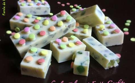 Dominos au chocolat blanc et aux fruits confits