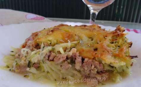 Gratin de courgettes et pommes de terre au poulet et boeuf