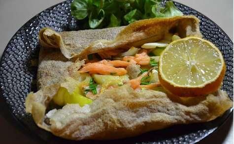 Crêpe ou galette au saumon et fondue de poireau