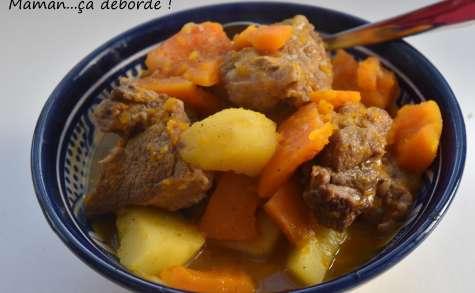 Sauté de veau aux épices, potimarron et pomme de terre