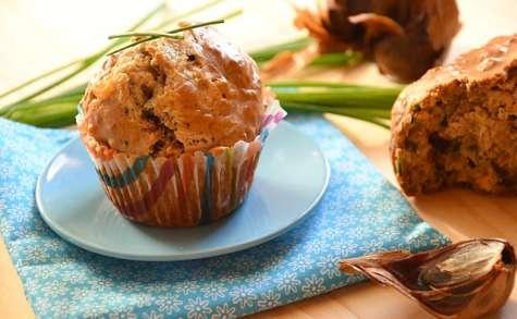 Muffins ail noir, stilton, ciboulette, cardamome