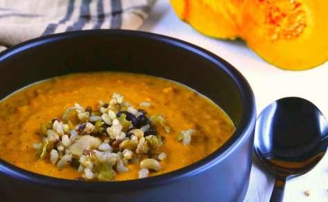 Crème de courge et légumes rôtis à l'huile d'olive