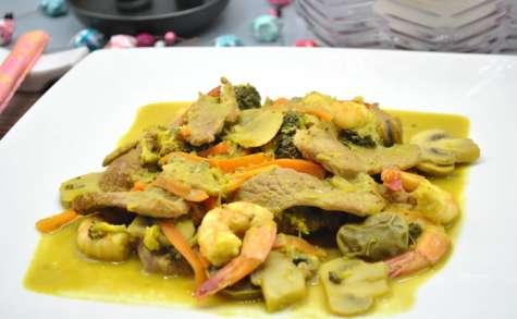 Sauté de légumes au canard, crevettes et lait de coco
