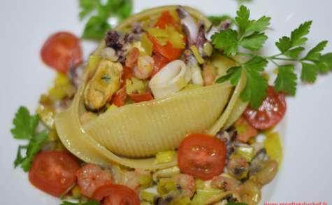 Caccavelle aux fruits de mer et poireaux