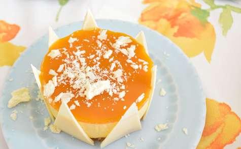 Mini entremet mangue, passion sur croustillant au chocolat blanc
