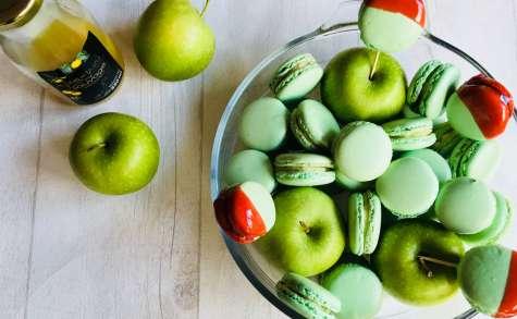 Macarons à la pomme verte et au yuzu façon pomme d'amour