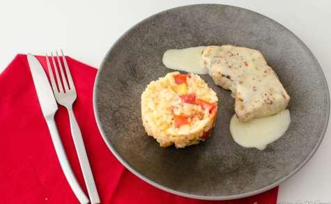Pavé de thon sauce au gingembre et risotto poivrons chorizo