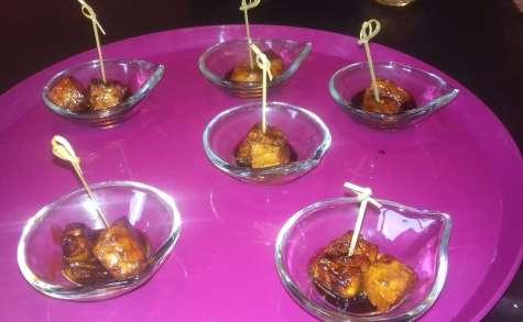 Bouchées apéritives saumon, sauce soja et miel