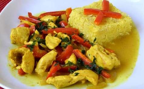 Curry de poulet et poivrons