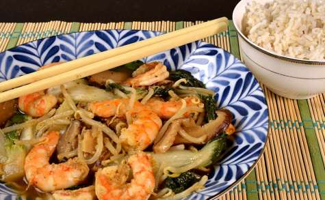 Crevettes aux légumes asiatiques