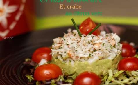 Ecrasé d'avocat et crabe au citron vert