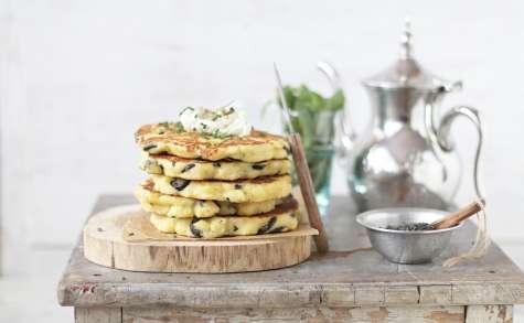 Harchas Salés aux Olives Thym et Fromage comme des Pan Cakes