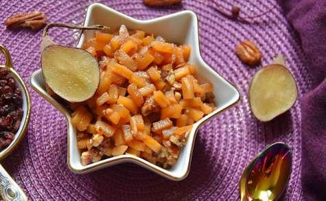 Poires de terre à l'érable, noix de pécan et épine-vinette