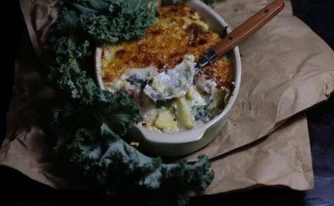 Gratin de chou kale, lardons et pommes de terre