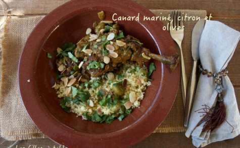 Canard mariné, citron et olives