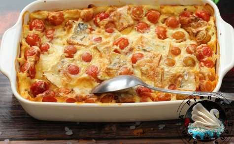 Clafoutis de tomates cerises au bleu