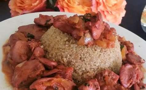Foies de volaille confits à la tomate et quinoa