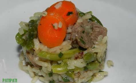 Riz au boeuf et légumes