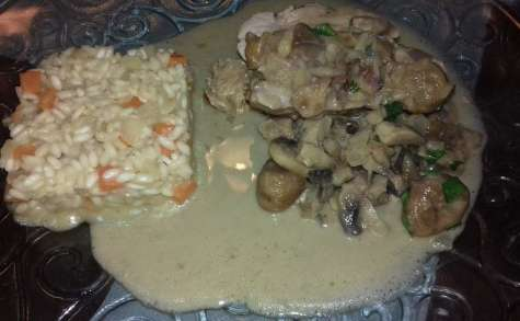 Filet mignon de veau aux marrons, champignons, sauce crémeuse au Cognac