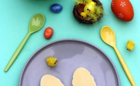 Panna cott'oeuf chocolat blanc-passion pour Pâques
