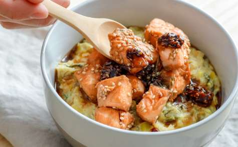 Porridge de poireau ricotta au saumon