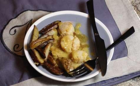 St-Jacques et pommes de terre sautées au citron confit
