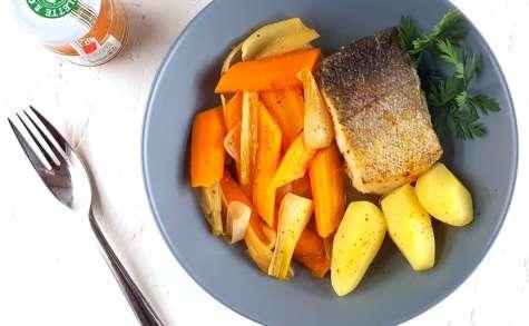 Dos de merlu, carottes et oignons nouveaux au cidre et piment d'Espelette