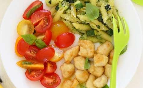 Poulet sauté au citron, pâtes de courgette, huile d'olive bio