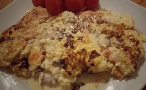 Omelette au saumon fumé