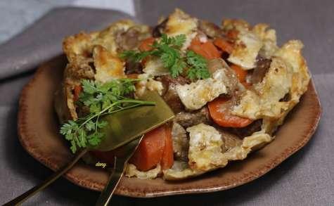 Feuilleté d'agneau confit aux carottes