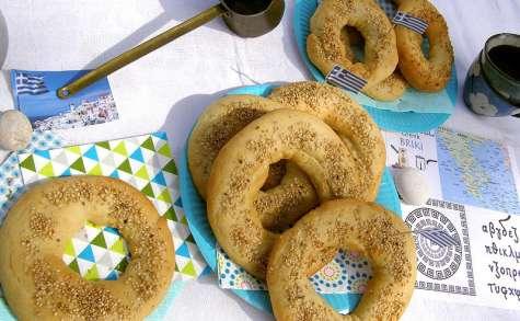 Koulouris, petits pains grecs à l'huile d'olive