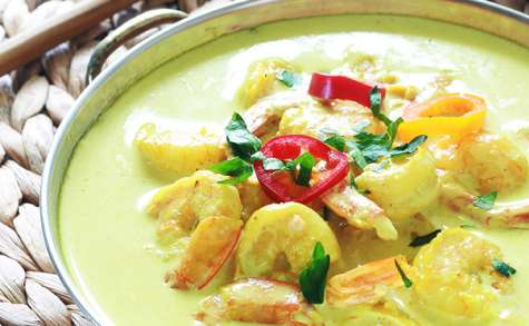 Curry de crevettes et lait de coco rapide