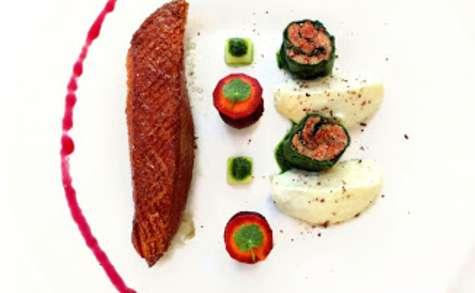 Magret en 2 façons, betterave, carottes & purée de céleri