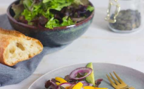 Salade avocat, mangue et oignon rouge