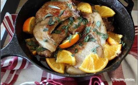 Côtes de porc à l'orange et à la sauge