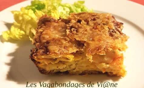 Gâteau invisible pommes de terre, potimarron, chèvre et chorizo