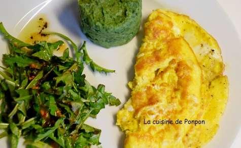 Salade de pissenlits, omelette et purée à la spiruline - La cuisine de Ponpon: rapide et facile!