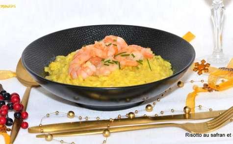 Risotto au safran et aux crevettes ou risotto à la Milanaise.